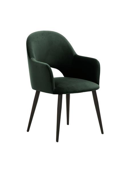 Krzesło z podłokietnikami z aksamitu Rachel, Tapicerka: aksamit (poliester) Dzięk, Nogi: metal malowany proszkowo, Aksamitny ciemny zielony, S 56 x G 70 cm