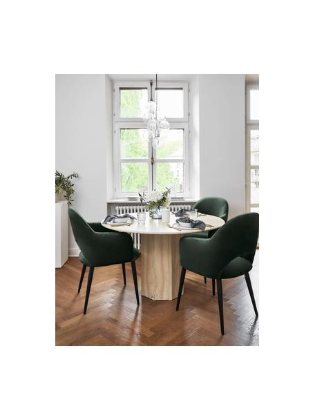 Sedia con braccioli in velluto verde scuro Rachel, Rivestimento: velluto (rivestimento in , Gambe: metallo verniciato a polv, Velluto verde scuro, Larg. 56 x Prof. 70 cm