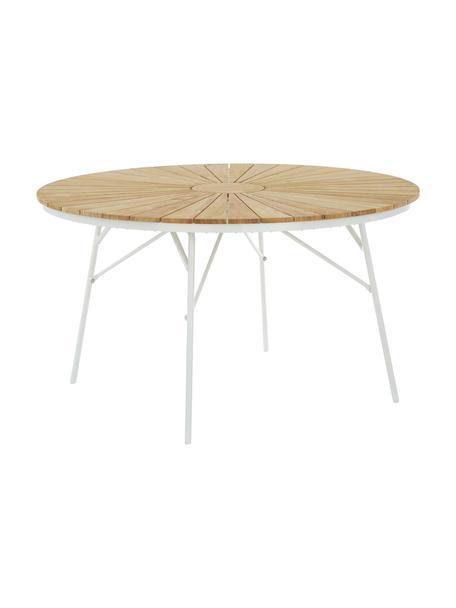 Mesa redonda para jardín de madera Hard & Ellen, Tablero: madera de teca lijada, Estructura: aluminio con pintura en p, Teca, blanco, Ø 130 x Al 73 cm