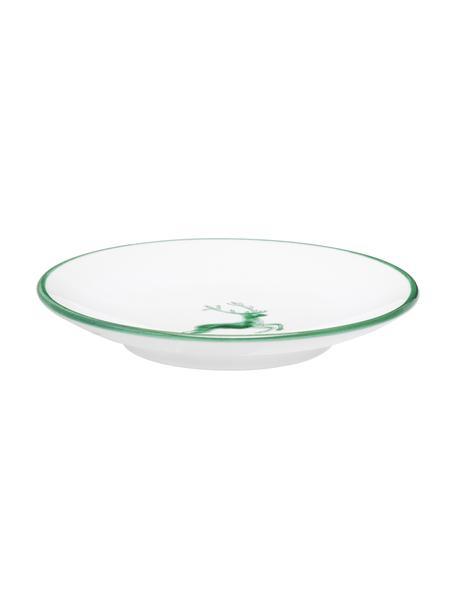 Piattino dipinto a mano Classic Grüner Hirsch, Ceramica, Verde, bianco, Ø 15 cm