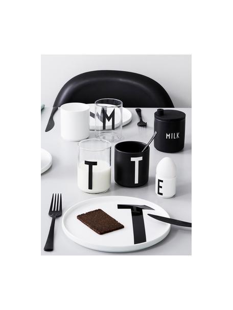 Vasos de diseño Personal (variantes de A a Z), Vidrio de borosilicato, Transparente, negro, Vaso M