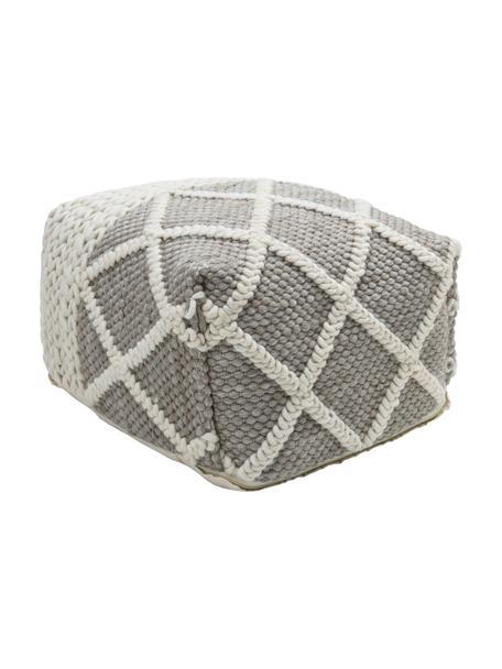 Pouf a maglia Anna, Rivestimento: 80% lana, 20% cotone, Grigio, crema, Larg. 45 x Alt. 30 cm
