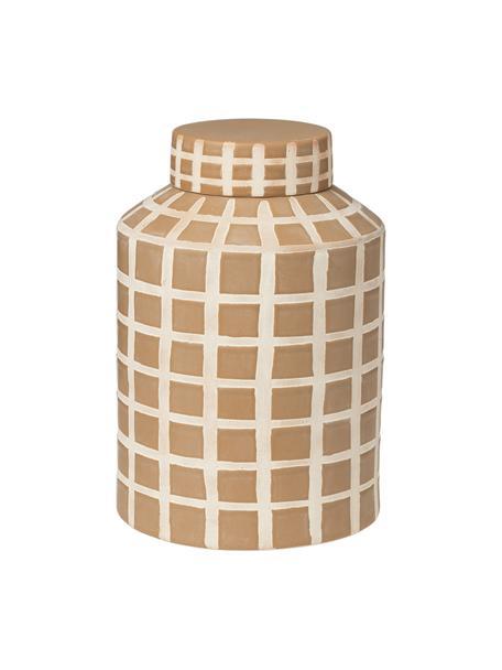 Vaso moderno beige con coperchio Jarry, Gres, Beige, Ø 16 x Alt. 24 cm