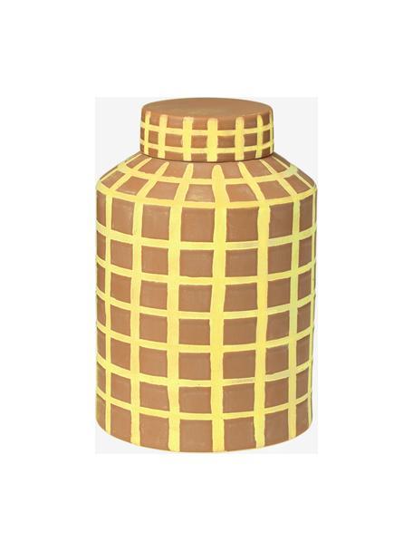 Vaas met deksel Jarry in beige, Keramiek, Beige, Ø 16 x H 24 cm