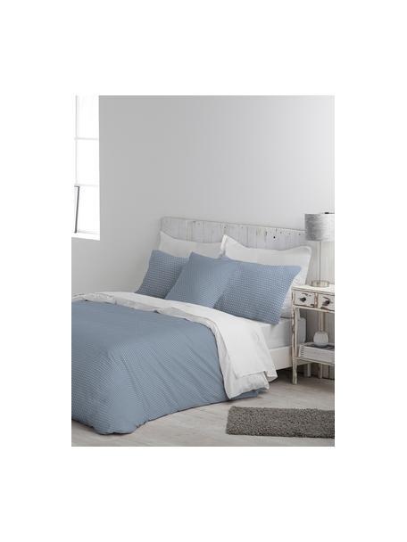 Parure copripiumino in cotone Perun, Cotone, Fronte: blu, bianco Retro: bianco, 155 x 200 cm
