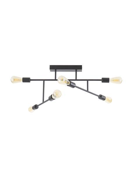 Lampada da soffitto orientabile Joni, Baldacchino: metallo verniciato a polv, Nero, Larg. 75 x Alt. 36 cm