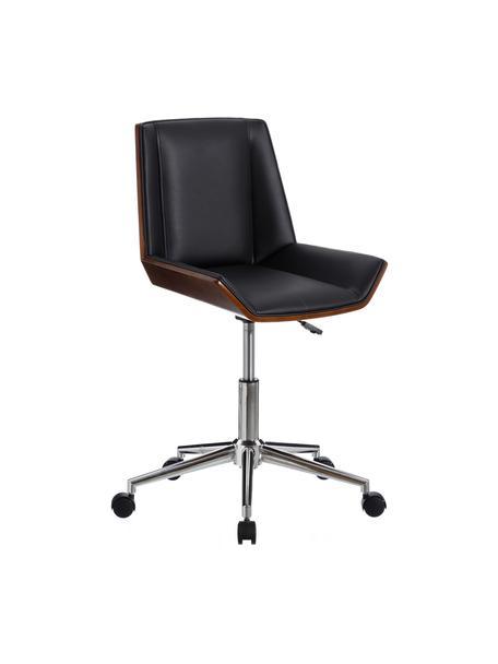 Krzesło biurowe ze sztucznej skóry Clar, obrotowe, Tapicerka: sztuczna skóra (poliureta, Stelaż: płyta wiórowa, Nogi: metal, Czarny, brązowy, S 54 x G 52 cm