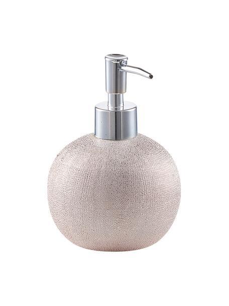 Dispenser sapone in gres Glitter, Contenitore: gres, Testa della pompa: metallo, Dorato rosa, Ø 10 x Alt. 15 cm