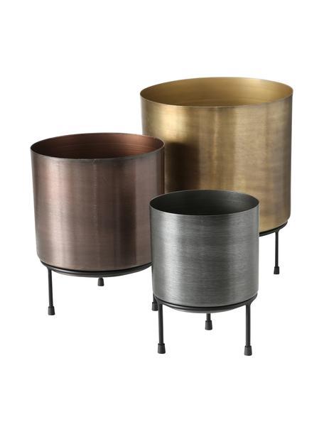 Set 3 portavasi in metallo Dean, Metallo, Multicolore, Set in varie misure