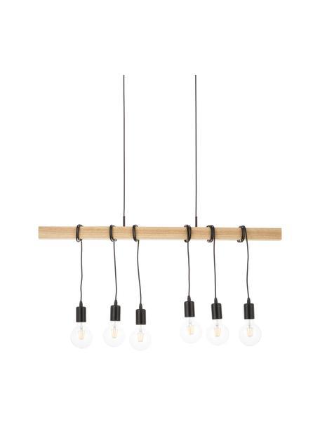 Duża lampa wisząca z drewna Townshend, Czarny, drewno naturalne, S 100 x G 10 cm