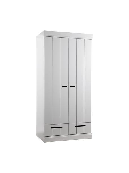 Kledingkast Connect met 2 deuren in lichtgrijs, Frame: massief grenenhout, gelak, Handvatten: gelakt metaal, Lichtgrijs, 94 x 195 cm