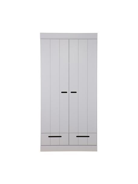 Kleiderschrank Connect mit 2 Türen in Hellgrau, Korpus: Kiefernholz, massiv, lack, Einlegeböden: Melamin, Hellgrau, 94 x 195 cm