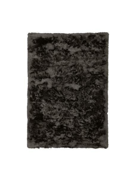 Glänzender Hochflor-Teppich Jimmy in Dunkelgrau, Flor: 100% Polyester, Dunkelgrau, B 80 x L 150 cm (Grösse XS)