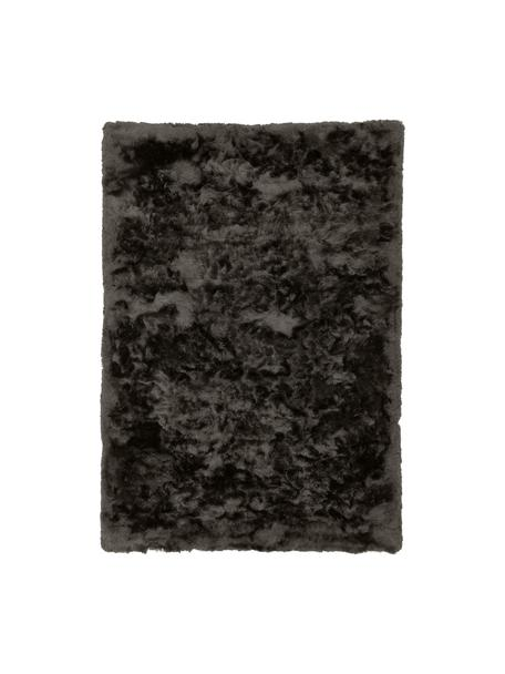 Tappeto lucido a pelo lungo grigio scuro Jimmy, Retro: 100% cotone, Grigio scuro, Larg. 80 x Lung. 150 cm (taglia XS)