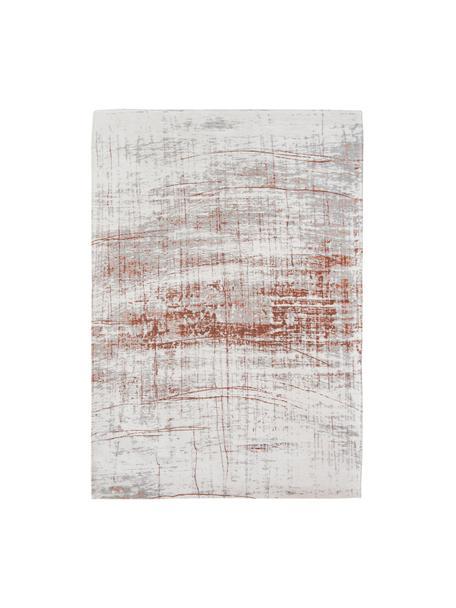 Tappeto di design vintage Griff, Tessuto: Jacquard, Retro: Miscela di cotone, rivest, Fronte: grigio, rame, bianco latte, Larg. 140 x Lung. 200 cm (taglia S)
