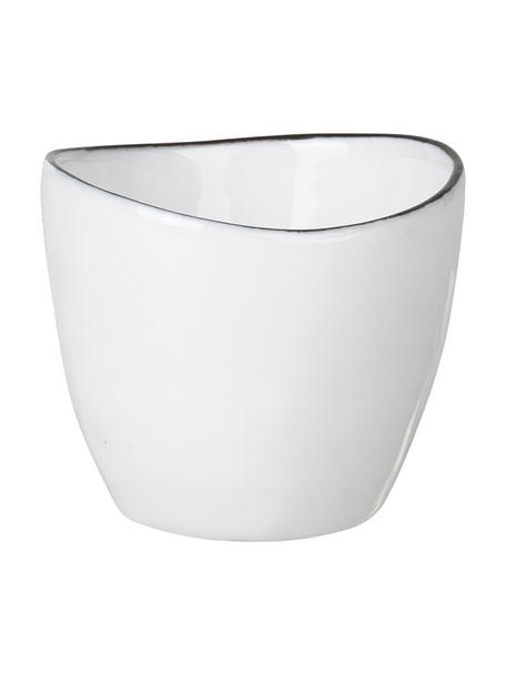 Soportes de huevo artesanales, 4uds., Porcelana, Blanco crudo, negro, Ø 5 x Al 4 cm