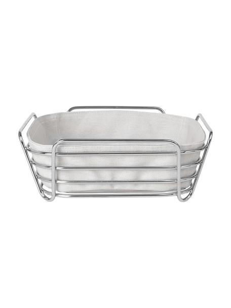 Brotkorb Delara mit herausnehmbarem Einsatz, Korb: Stahl, Beige, Silberfarben, 26 x 9 cm