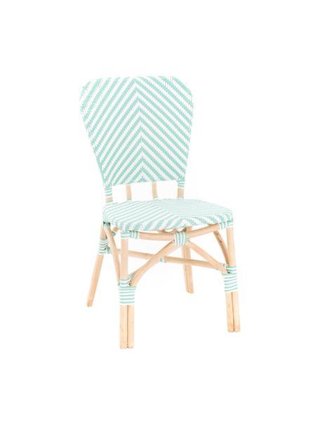 Sedia da giardino Bistrot, Rivestimento: tessuto intrecciato, Struttura: rattan, Verde, bianco, Larg. 59 x Prof. 52 cm