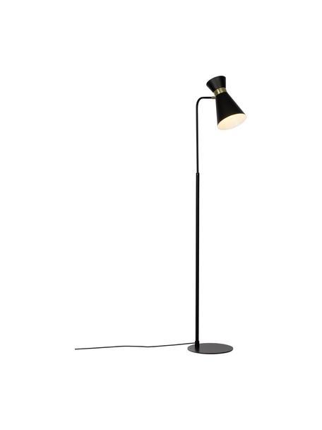 Retro leeslamp Grazia in zwart-goudkleur, Lampenkap: gelakt metaal, Lampvoet: gelakt metaal, Decoratie: vermessingd metaal, Lampvoet en lampenkap: zwart. Bevestiging: mat goudkleurig, 39 x 144 cm