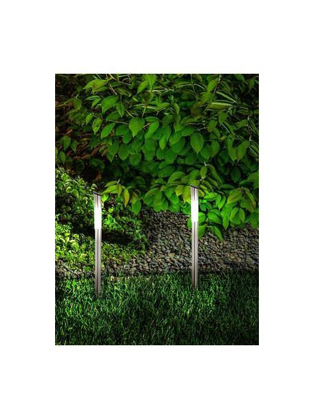 Solar padverlichting Thin, 6 stuks, Lampvoet: edelstaal, Diffuser: kunststof, Edelstaalkleurig, Ø 6 x H 60 cm