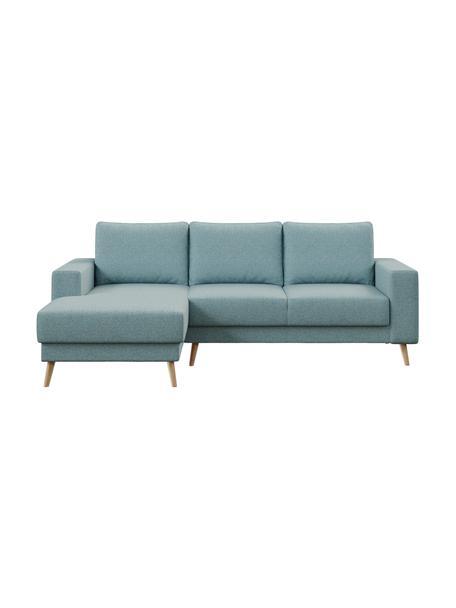 Sofa narożna Fynn, Tapicerka: 100% poliester z uczuciem, Stelaż: drewno liściaste, drewno , Nogi: drewno lakierowane Dzięki, Jasny niebieski, S 234 x G 145 cm