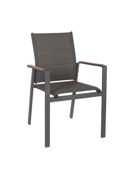 Krzesło ogrodowe z podłokietnikami do układania w stos Kubik, Stelaż: aluminium malowane proszk, Antracytowy, brązowy, S 57 x G 62 cm
