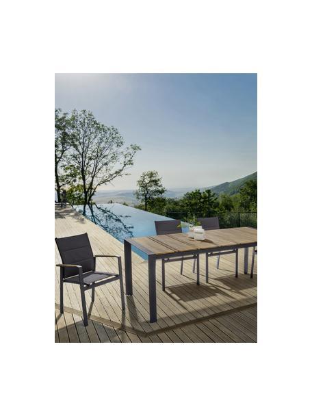 Stapelbare tuinarmstoel Elias, Frame: gepoedercoat aluminium, Zitvlak: Textilene, Antraciet, bruin, B 57 x D 62 cm