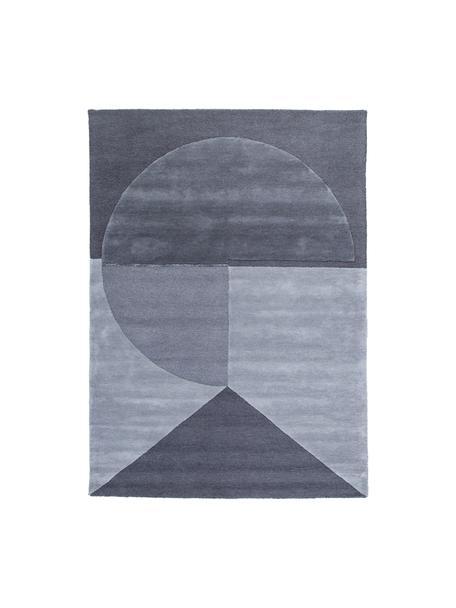 Handgetuft wollen vloerkleed Satomi, Bovenzijde: 95% wol, 5% viscose, Onderzijde: katoen, Antraciet, grijstinten, B 140 x L 200 cm (maat S)