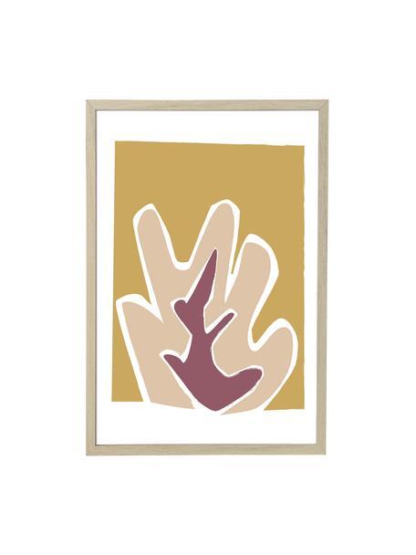 Gerahmter Digitaldruck Kasja, Bild: Digitaldruck auf Papier, , Rahmen: Mitteldichte Holzfaserpla, Front: Kunststoff (PVC), Beige, Weiß, Rosa, Senfgelb, 45 x 65 cm