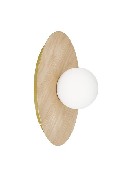 Aplique / Plafón en look madera Starling, Anclaje: metal con pintura en polv, Pantalla: vidrio opalino, Marrón, Ø 33 x Al 14 cm