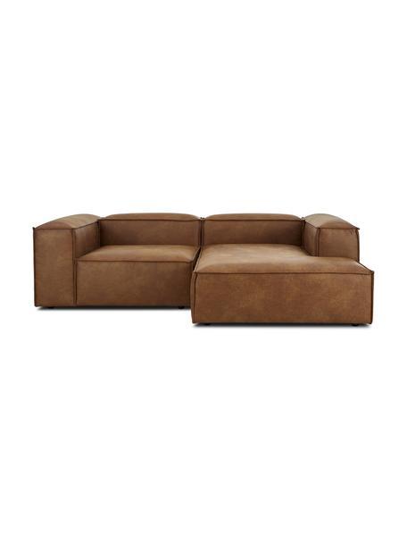 Sofá rinconera modular de cuero Lennon, Tapizado: cuero reciclado (70%cuer, Estructura: madera de pino maciza, ma, Patas: plástico Las patas están , Cuero marrón, An 238 x F 180 cm