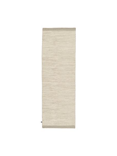 Handgewebter Wollläufer Asko in Creme/Hellgrau, meliert, Flor: 90% Wolle, 10% Baumwolle, Creme, Hellgrau, 80 x 250 cm