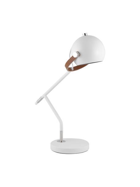 Grote tafellamp Bow met leren decoratie, Lampenkap: gelakt metaal, Lampvoet: gelakt metaal, Decoratie: kunstleer, Wit, 42 x 54 cm