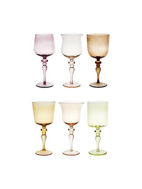 Copas de vino de vidrio soplado artesanalmente Desiguale, 6uds., Vidrio soplado artesanalmente, Multicolor, Ø 8 x Al 20 cm