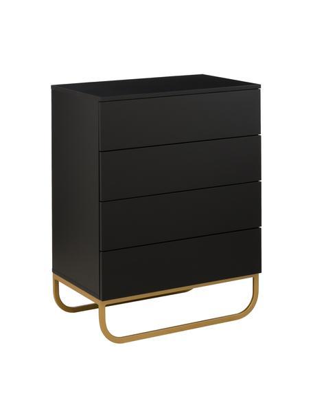 Komoda z szufladami Sanford, Korpus: płyta pilśniowa średniej , Czarny, odcienie złotego, S 80 x W 106 cm