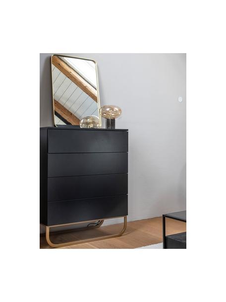 Ladekast Sanford in zwart, Frame: gelakt MDF, Poten: gepoedercoat metaal, Zwart, goudkleurig, 80 x 106 cm