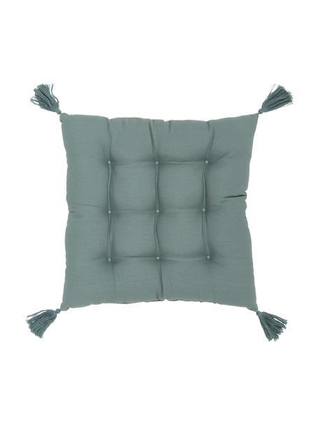 Sitzkissen Ava in Salbeigrün mit Quasten, Bezug: 100% Baumwolle, Grün, 40 x 40 cm