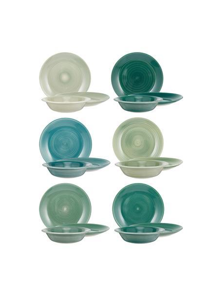 Set 18 piatti tonalità verdi per 6 persone Lucca, Gres, Verde, 6 persone (18 pz)