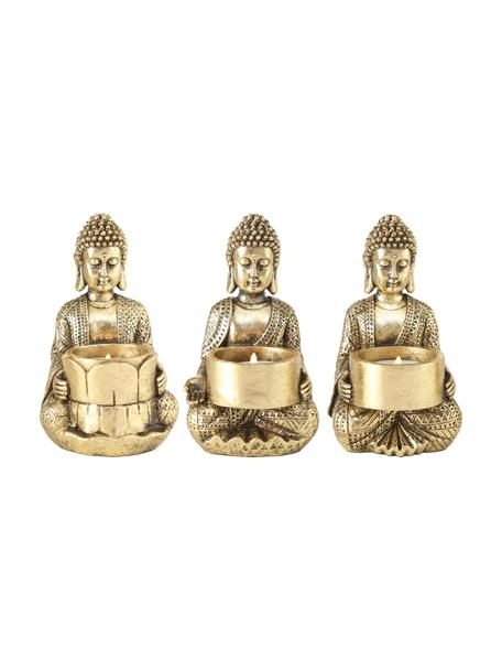 Set de portavelas Jarven, 3pzas., Poliresina, Dorado, An 8 x Al 14 cm