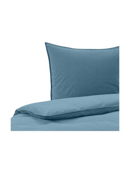 Gewaschene Baumwoll-Bettwäsche Guy, Blau, 135 x 200 cm