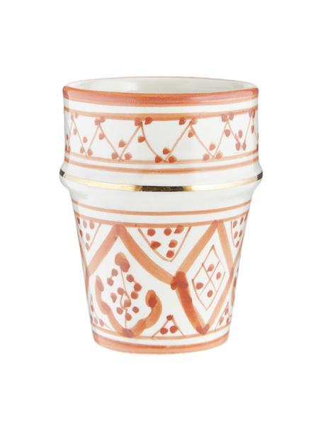Handgemachter marokkanischer Becher Beldi mit Goldrand, Keramik, Orange, Cremefarben, Gold, Ø 8 x H 11 cm