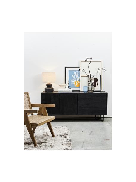 Zwart dressoir Luca met deuren van massief hout, Frame: massief mangohout, gebors, Frame: gepoedercoat metaal, Raamwerk: zwart, gelakt. Frame: mat zwart, 160 x 70 cm