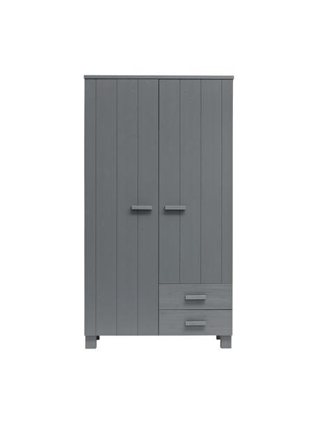 Kleiderschrank Dennis mit Schubladen in Grau, Korpus: Kiefernholz, gebürstet un, Dunkelgrau, 111 x 202 cm