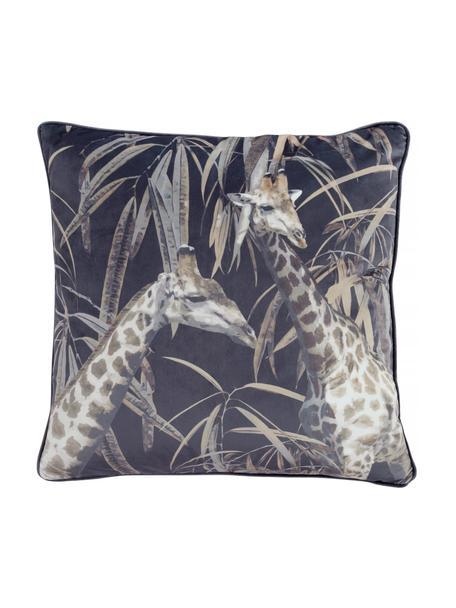 Fluwelen kussenhoes Nuoro met giraf motief, 100% polyester fluweel, Grijs, bruin, zwart, 50 x 50 cm