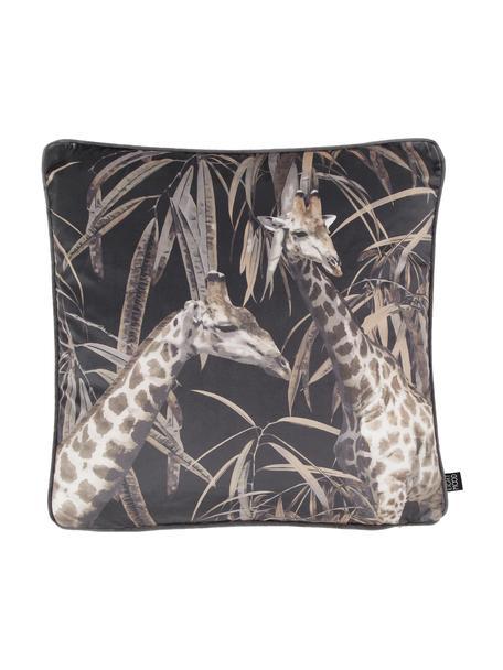 Samt-Kissenhülle Nuoro mit Giraffen-Motiven, 100% Polyestersamt, Grau, Braun, Schwarz, 50 x 50 cm