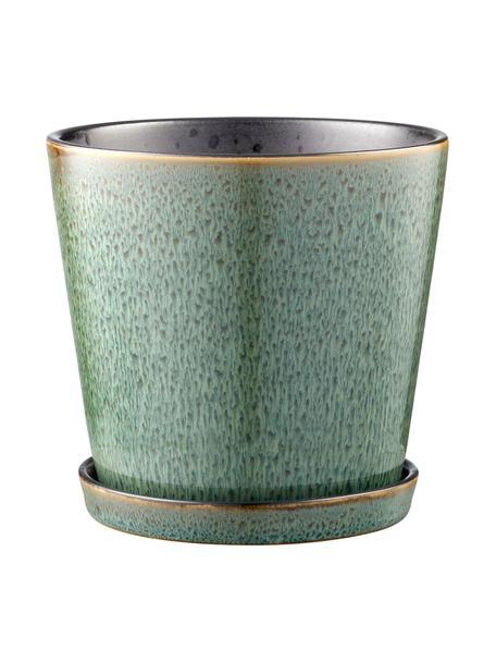 Portavaso piccolo con piattino Bizz, Verde, Ø 14 x Alt. 13 cm