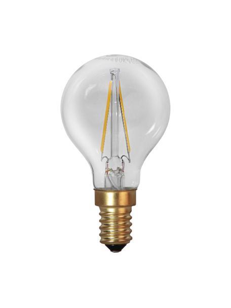 E14 peertje, 1.5 watt, warmwit, 2 stuks, Peertje: glas, Fitting: aluminium, Transparant, messingkleurig, Ø 5 x H 8 cm