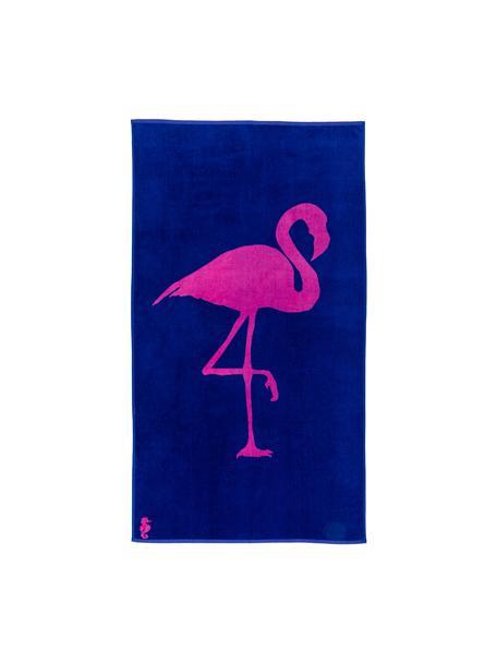 Toalla de playa Flamingo, Parte delantera: terciopelo (algodón), Reverso: afelpado (algodón), Azul cobalto, rosa, An 100 x L 180 cm
