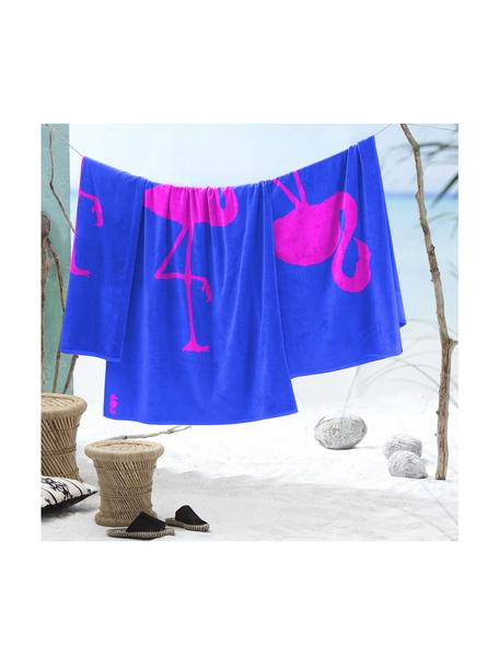 Strandlaken  Flamingo, Kobaltblauw, roze, 100 x 180 cm