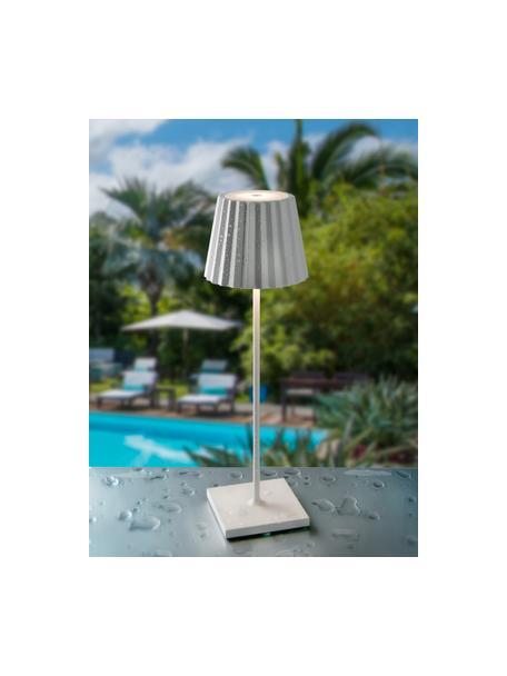 Mobiele dimbare LED tafellamp Trellia, Lampenkap: gelakt aluminium, Diffuser: kunststof, Lampvoet: gelakt aluminium, Wit, Ø 15 x H 38 cm